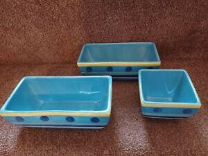 Whittards 3 Blue Patterned Dip Bowls
