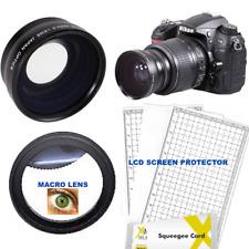 WIDE ANGLE LENS + MACRO LENS+ LCD PROTECTORS FOR NIKON DSLR D3000 D3100 D3200