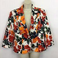 Oscar de la Renta Womens 14 Floral Blazer Jacket ivory orange red cotton blend