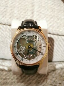 Rotary Men's Rose Gold Skeleton wind automatic black Leather Strap Watch