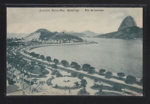 BRAZIL 1920 AVENIDA BEIRA-MAR IN RIO DE JANEIRO POSTCARD TO FRANCE