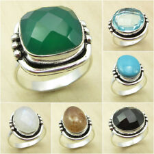 925 Silver Plated Over Solid Copper, GREEN ONYX & Other Gemstone Choice Ring