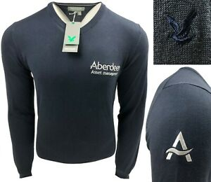 Lyle & Scott Golf V Neck Shaped Pullover - From the Scottish Open - RRP£60 -Navy