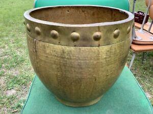 Vintage Hammered Brass copper Planter Pot Bowl Garden Flower Tree