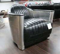 NEW AVIATOR ROCKET TUB CLUB CHAIR OFFICE HOME RETRO INDUSTRIAL BLACK LEATHER