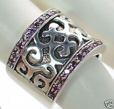 Flli Menegatti Solid 925 Sterling Silver Ruby Wide Band Ring Sz-7 `