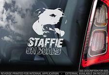 Staffie - Dog Car Sticker - Staffordshire Bull Terrier on Board Sign Gift -TYP11