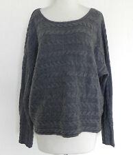 Tahari Sweater Bat-Wing Sleeve 50% Merino Wool Cable Knit Gray Boxy Size XL