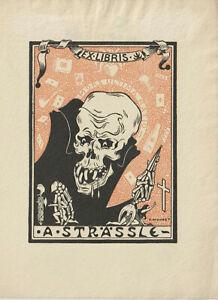 Ex libris Art Deco Exlibris with skull by MONNET C. / Switzerland