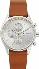 Skagen Holst SKW6607 Silver Tone Chrono Dial Brown Leather Band Mens Watch