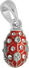 Faberge Egg Pendant / Charm with crystals 1.6 cm red #0847-05-09