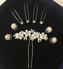 NEU 9er Set Brautfrisur Haarschmuck Hochzeit Haarklammer Blumen Perle Curlies