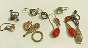 Jewelry Lot of 10 Pieces Victorian Lot of Earrings Coral