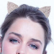Diamante Crystal Rhinestone Cat Ear Silver Head hoop Hairband Women Jewelry UK