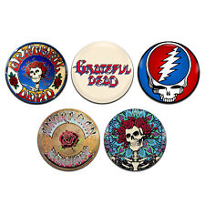 5x Grateful Dead Band Psychedelic Rock 25mm / 1 Inch D Pin Button Badges