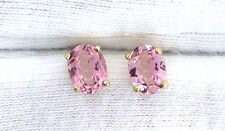 14Kt 8x6 8mm x 6mm Oval AAA Pink Tourmaline Gemstone Gem Stone Earrings EBS99EE5