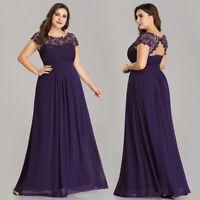Ever-Pretty Plus Size Evening Party Dresses Lace Long Formal Dress Purple 09993