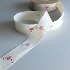 2m Crème tissé Doux Ruban avec imprimé flamant rose oiseau Design - 25mm Large