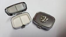 Thatrical Mask PP-G07 English Pewter Emblem on a Rectangular Metal Pill Box