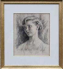 Hubert Williams 1905-1989 ART DECO anni 1930 Donna inglese ritratto arte disegno