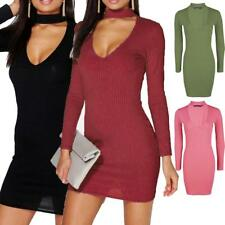 Womens Ladies Ribbed Choker High Plunge Neck Mini Bodycon Dress Long Sleeve