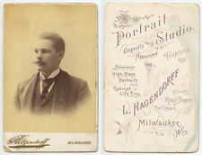 PHOTOGRAPHER W/ TELEPHONE NUMBER ON REVERSE 1880S CABINET CARD OF DAPPER MAN