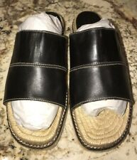 Coach Lilo Black Leather Flat Espadrille Sandals 36 6 EUC