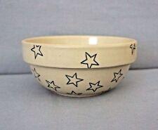 """Crock Stoneware Glazed Bowl Blue Stars 3"""" Tall"""