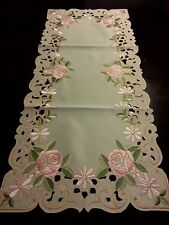 """16""""x36""""Embroidered Tablecloth Pink Hybrid Tea Rose Table Runner  Home decor"""