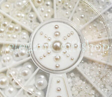#ER18 5 Sizes Nail Art Decoration 3D Flat Back Half Round White Pearl