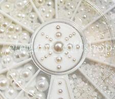 #ER18 5 Sizes Nail Art Decoration 3D Flat Back Half Round White Pearl