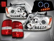 2004-2008 FORD F-150 CHROME HALO HEADLIGHTS PROJECTOR LED + RED TAIL LIGHTS LED