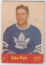 Babe Pratt AUTOGRAPHED (SIGNED) 1955/56 Card.  Deceased HOFer