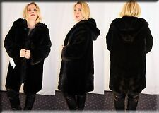 New Hooded Reversible Black Sheared Mink Fur Coat Size Large L 10 12 Efurs4less