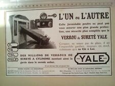 PUBLICITE ANCIENNE - PUB ADVERT 1920 illustration - VERROU DE SURETE YALE