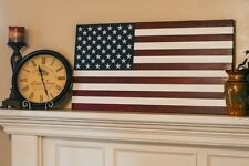 New 36 Inch XL Handcrafted Vintage Look Wood American Flag 100% Made in USA