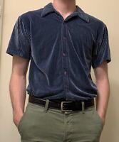 vintage positrano navy camp collar short sleeve shirt velour like