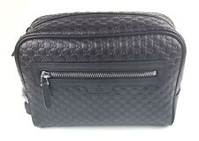Authentic New Gucci Microguccissima Black Leather Toiletry Travel Bag#419775 NWT