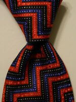 STEFANO RICCI Men's 100% Silk Necktie ITALY Luxury ZIGZAG Red/Blue/White PERFECT