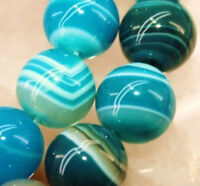 8mm Natural Rich Striped Blue Agate Onyx Round Loose Beads 15'' AAA Grade