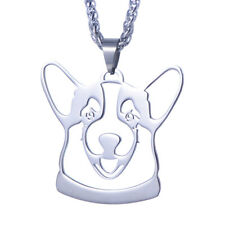 Stainless Steel Welsh Corgi Pembroke Cardigan Dog Head Pendant + Free Necklace