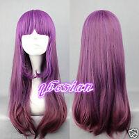 Lolita Purple Mixed Long Women Anime Cosplay Full Hair Wig + Free Wig Cap