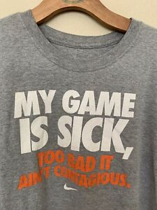 NIKE MY GAME IS SICK Contagious Boy's Gray T-Shirt Size Large