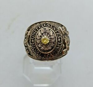 US Military Academy Naval Class Rings 1961  , Citrine Stone