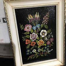 Mid Century Miniature Framed Oil Painting Signed Still Life Flower