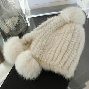 Womens Winter Real Mink Fur Hat Knitted Cap Beanie Earmuff W Real Fox Fur Ball