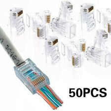 50 Pcs CAT6 Plug EZ RJ45 Network Cable Modular 8P8C Connector End Pass Through