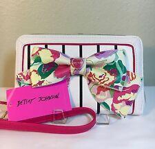 NWT Betsey Johnson Floral Wallet Wristlet Zip Around Multi Stripe Bow Clutch $75