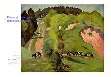 Weide Bergeshang XL Druck 1931 Adolf Schlawing * Groß Lunau † Vietze Kuh Kühe  +