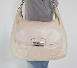 COACH Large Beige Leather Shoulder Hobo Tote Crossbody Purse Bag